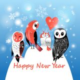Festive winter postcard with owls. On blue background with snowflakes Stock Photo