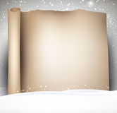 Festive winter scroll background. Christmas scroll background with snow. Vector paper illustration Royalty Free Stock Photo