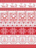 Festive winter seamless pattern in cross stitch with gingerbread house, Christmas tree, heart, reindeer, sleigh, present, ornament. Seamless Scandinavian Textile Stock Photo