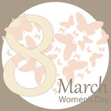 Festive women`s day poster with the figure eight and butterfly. In form of heart. template for greeting card. vector, illustration Royalty Free Stock Image