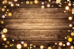 Festive wooden background with lights Royalty Free Stock Photography