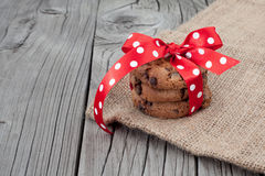 Festive wrapped chocolate homemade cookies Stock Images