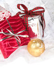 Festive wrapped Christmas gifts Stock Images