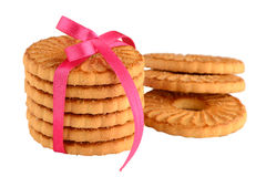 Festive wrapped rings biscuits Stock Photos