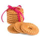 Festive wrapped rings biscuits Stock Photo