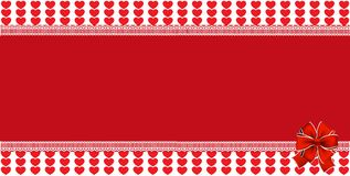 Festive wrapped template with ribbon on striped red hearts backg. Festive wrapped template with space for text and ribbon on striped red hearts background framed Stock Photo