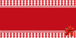 Festive wrapped template with  space for text and ribbon. On striped red hearts and background framed with lace. Abstract design element . Christmas, new year Royalty Free Stock Image