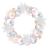 A festive wreath of Christmas toys and snow-flakes Royalty Free Stock Photo