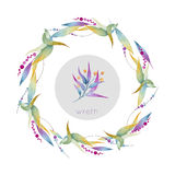 Festive wreath of flowers watercolor Stock Photography