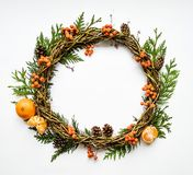 Festive wreath of vines with tangerines, thuja branches, rowanberries and cones. Flat lay, top view royalty free stock images