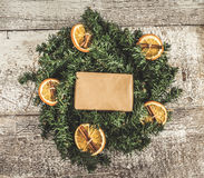 Festive wreath of oranges and empty space for text instagram eff Royalty Free Stock Photography