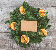 Festive wreath of oranges and empty space for text instagram eff Royalty Free Stock Photos