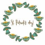 Festive wreath for St. Patrick`s day. Vector illustration stock illustration