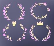 Festive wreaths set,  illustrations, cute kawaii gradient style Stock Photo