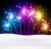 Festive xmas firework background. Festive xmas colour firework background. Vector illustration Stock Image