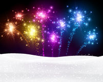 Festive xmas firework background. Festive xmas colour firework background. Vector illustration Stock Photos