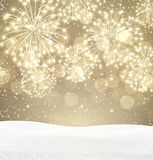 Festive xmas firework background. Festive xmas firework sepia background. Vector illustration Stock Photos