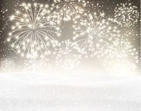 Festive xmas firework background. Festive xmas firework sepia background. Vector illustration Royalty Free Stock Photos