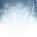 Festive xmas firework background. Vector illustration Stock Images
