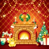 Festive Xmas Interior with Fireplase, Gifts and Pine Tree Stock Photo