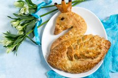 Festive yeast with cheese in form of swan royalty free stock photography