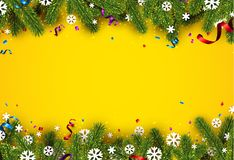 Festive yellow background with fir branches. New Year background with spruce branches, snowflakes and serpentine. Vector illustration.r Stock Photos