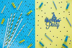 Festive yellow background with title birthday party on it. Happy birthday party decoration. Minimalistic style. Flat lay. Copy space stock image
