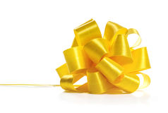 Festive yellow bow Royalty Free Stock Images