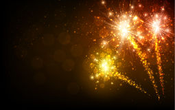 Festive yellow firework background. Vector illustration Royalty Free Stock Images