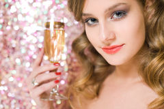 Festive young blond. Royalty Free Stock Images