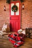Festively украшенный интерьер рождества Стоковое Фото