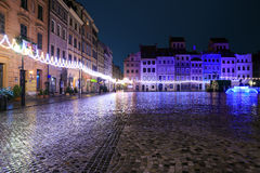 Festively adorned old town square in Warsaw Stock Images