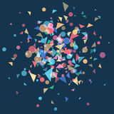 Festively colored confetti. Explosion festively colored confetti. Carnival background, blast coloured shapes.Vector illustration template web design for banner Royalty Free Stock Images