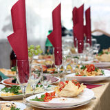 Festively covered table Stock Images