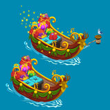 Festively decorated boat with Christmas presents. Vector holiday concept Stock Photography
