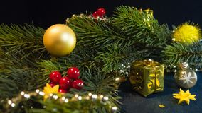 Festively decorated for Christmas & New Year fir branch stock photo