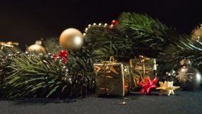 Festively decorated for Christmas & New Year fir branch royalty free stock photos