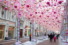 Festively decorated for Christmas and the New Year the Old Arbat street. MOSCOW, RUSSIA - JANUARY 4, 2017: Festively decorated for Christmas and the New Year the Royalty Free Stock Image