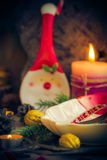 Festively decorated Christmas table tableware candles mood. Festively decorated Christmas table: tableware, candles, all in the Christmas mood Stock Photo