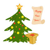 Festively decorated Christmas tree and boxes with gifts. Christm Royalty Free Stock Photography