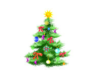 Festively Decorated Christmas Tree Isolated on White Background. Illustration in a classic cartoon style Stock Photo
