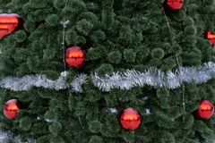 A festively decorated Christmas tree sparkle pattern.  stock photography