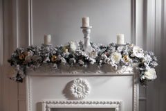 Festively decorated fireplace. Stock Photography