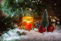 Festively decorated home interior with Christmas tree. Still life with festively decorated home interior with Christmas tree Royalty Free Stock Images