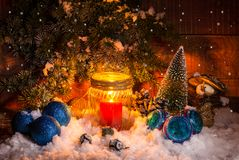 Festively decorated home interior with Christmas tree. Still life with festively decorated home interior with Christmas tree Royalty Free Stock Photos