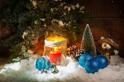 Festively decorated home interior with Christmas tree. Still life with festively decorated home interior with Christmas tree Stock Photography