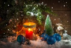 Festively decorated home interior with Christmas tree. Still life with festively decorated home interior with Christmas tree Stock Image