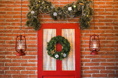 Festively decorated interior in red, brown colors Royalty Free Stock Photography