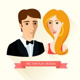 Festively dressed couple. Flat design. Stock Photo