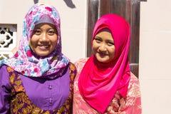 Festively dressed Muslim women at the end of Ramadan,  in Nusa Penida-Bali, Indonesia Stock Photos